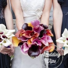 Close of bride's & bridesmaid's bouquets