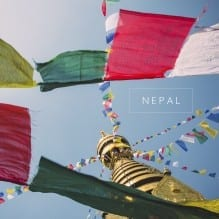 Nepalese prayer flags at a temple