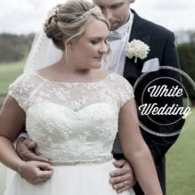 Bride & Groom together at a white wedding