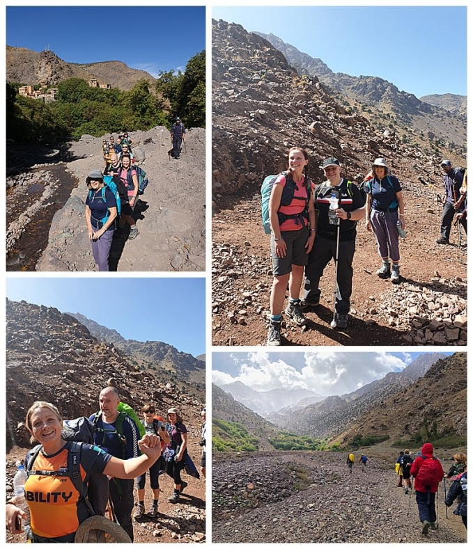 Trekkers starting on paths of Atlas Mountains
